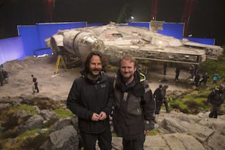 Producer Ram Bergman, left, and director Rian Johnson on the set of Star Wars: The Last Jedi. Photo by Jonathan Olley. Copyright 2015 Lucasfilm Ltd. All Rights Reserved.