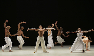 Lincoln Center at the Movies: Great American Dance presents Alvin Ailey American Dance Theater performing Ronald K. Brown's Grace on October 22. Dancers: Members of Alvin Ailey American Dance Theater. Photo by Paul Kolnik.