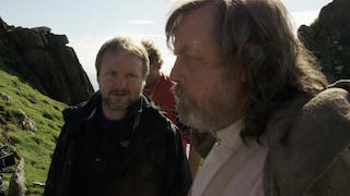 Director Rian Johnson and actor Mark Hamill on location for The Last Jedi.