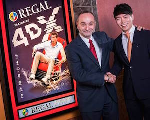 Regal's Rob Del Moro, left, with Brandon Choi of CJ 4DPlex Americas.