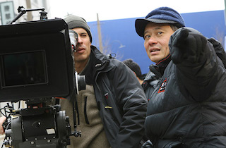 Ang Lee on location for Billy Lynn's Long Halftime Walk