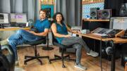 Ana Monte, right, and Daniel Deboy, cofounders of Delta Soundworks in Heidelberg, Germany.