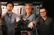 Pictured, left to right, Taka Mitsu, Panasonic's chief engineer for the VariCam; Theo Van De Sande, ASC; and Michael Cioni, CEO of Hollywood post-production company Light Iron.
