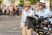 Woody Allen, Vittorio Storaro on the set of Allen's first digital shoot.