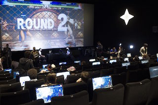 Players competing using ÉclairGame, the eSports in cinema solution.