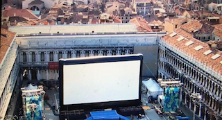 The outdoor pop-up screen used at this year's Venice Film Festival. Photo courtesy of AirScreen.