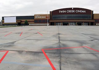 Marcus Theatres' drive-in at its Twin Creek Cinema in Bellevue, Nebraska. Photo courtesy of the Omaha World-Herald.